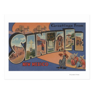 Santa Fe, New Mexico - Large Letter Scenes Postcard