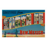 Santa Fe, New Mexico - Large Letter Scenes Poster