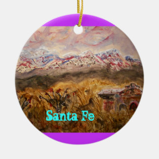santa fe snow ceramic ornament