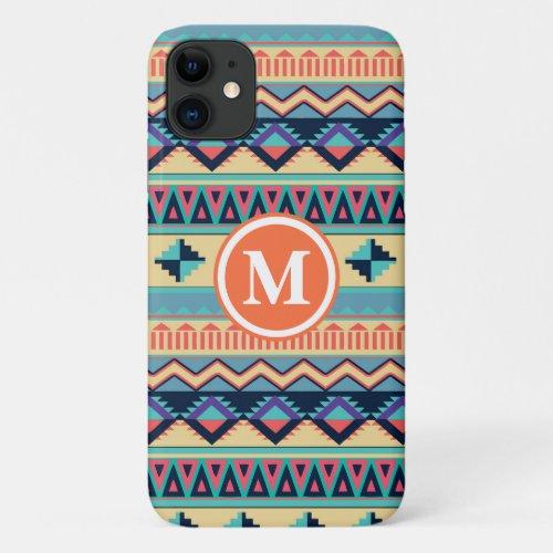 Santa Fe Sunset Tribal Rug Pattern Monogram iPhone 11 Case