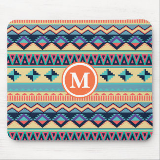 Santa Fe Sunset Tribal Rug Pattern Monogram Mouse Pad