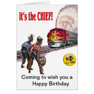 Santa Fe Super Chief Train Birthday Card