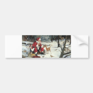 Santa feeding a baby reindeer bumper sticker