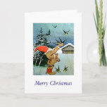 Santa feeding birds by hand in Christmas snow card