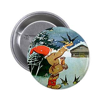 Santa feeding birds by hand in snow pinback button