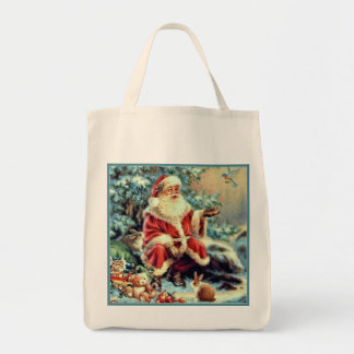 Santa Feeding Christmas Dove Canvas Christmas Tote Grocery Tote Bag