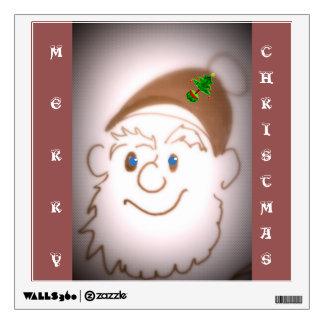 Santa-Feliz etiqueta de la pared del navidad