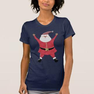 Santa feliz que salta para la alegría camiseta