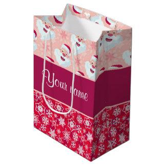 Santa feliz y copos de nieve personalizados bolsa de regalo mediana