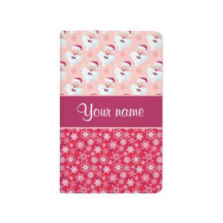 Santa feliz y copos de nieve personalizados cuadernos grapados