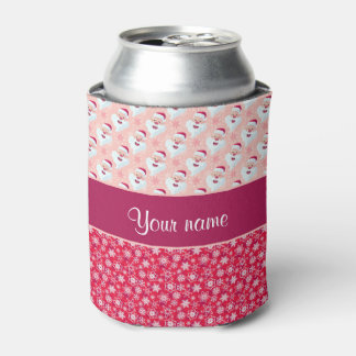 Santa feliz y copos de nieve personalizados enfriador de latas
