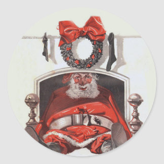 Santa Fell Down Chimney Classic Round Sticker