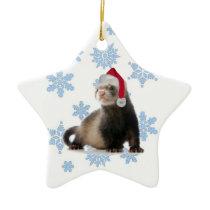 Santa Ferret Ceramic Ornament