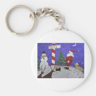 Santa Finds Pot Of Gold Basic Round Button Keychain