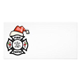 Santa Firefighter Photo Card