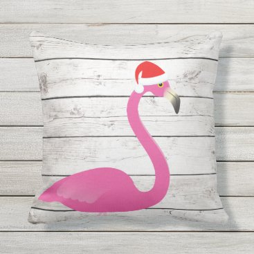 Beach Themed Santa Flamingo Beach Sign Outdoor Pillow