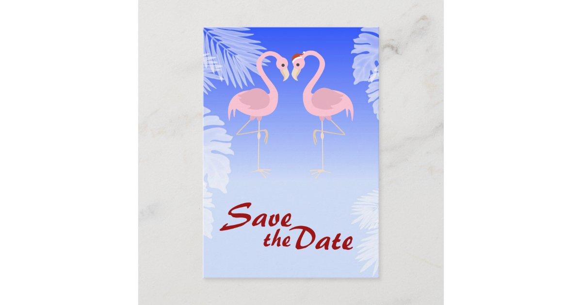santa flamingo christmas wedding save the date zazzlecom - Flamingo Christmas