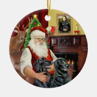 Santa - Flat Coated Retriever Ceramic Ornament