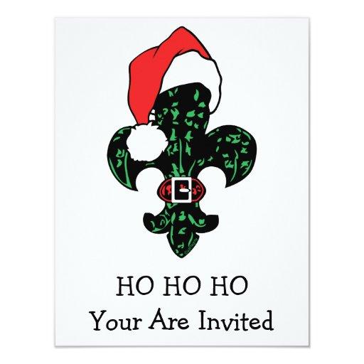 Santa Fleur de lis 4.25x5.5 Paper Invitation Card