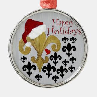 Santa Fleur de lis black and gold Christmas Christmas Ornaments