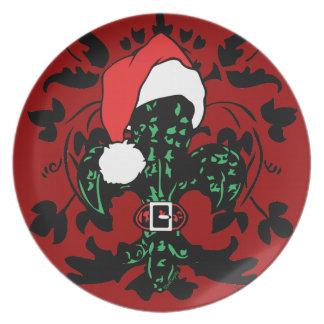 Santa Fleur de lis (green) plate