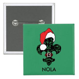 Santa Fleur de lis Pinback Button
