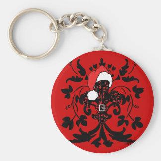 Santa Fleur de lis (red) Keychain