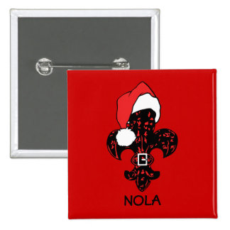 Santa Fleur de lis (red) Pinback Button