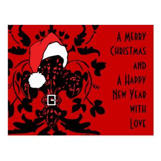 Santa Fleur de lis (red) Postcard