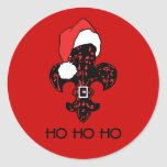 Santa Fleur de lis (red) Round Stickers