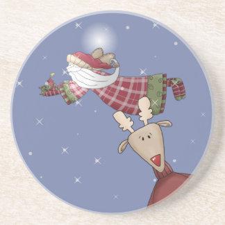 Santa Flies Beverage Coaster