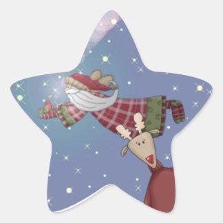 Santa Flies Star Sticker