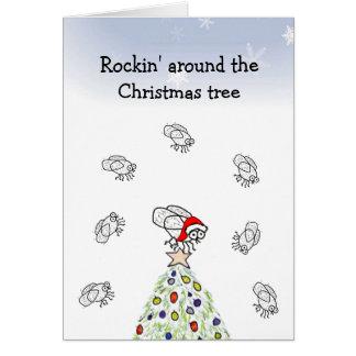 Santa Fly Rockin' Christmas Card