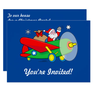 Santa Flying Airplane Gifts Christmas Party Invite