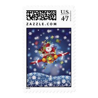 Santa Flying Airplane Postage