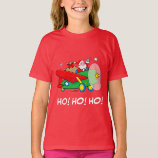 Santa Flying Airplane with Gifts: Ho! Ho! Ho! T-Shirt