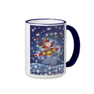 Santa Flying Antique Airplane Mug