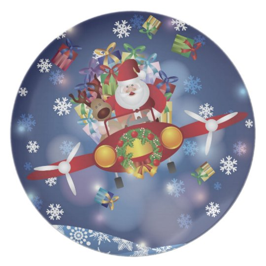 Santa Flying Antique Airplane Plate