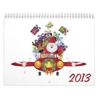 Santa Flying Antique Plane Calendar