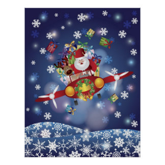Santa Flying Classic Airplane Poster