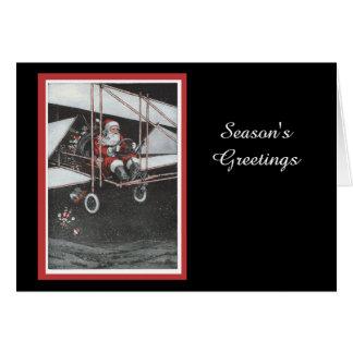 Santa Flying His Airpane Card