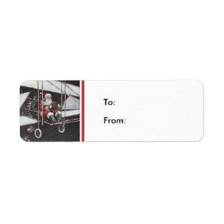 Santa Flying His Airpane Gift Tag Label