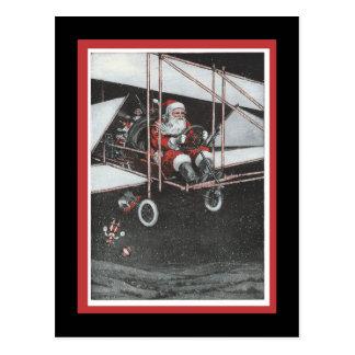 Santa Flying His Airpane Postcard