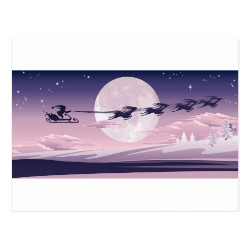 Santa flying in his sled postcard