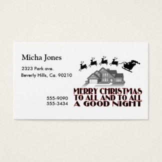 Santa Flying Over House Christmas Good Night Business Card