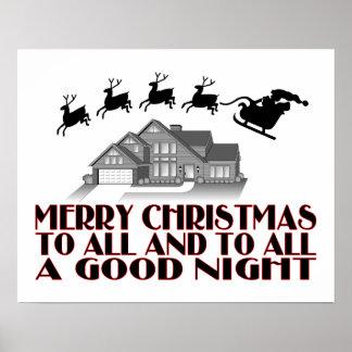 Santa Flying Over House Christmas Good Night Posters