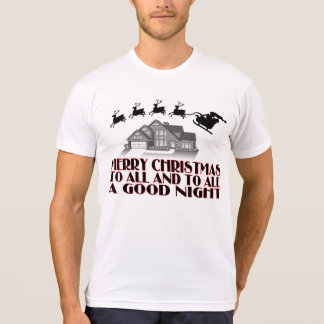 Santa Flying Over House Christmas Good Night Tshirts