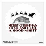 Santa Flying Over House Christmas Good Night Wall Decal