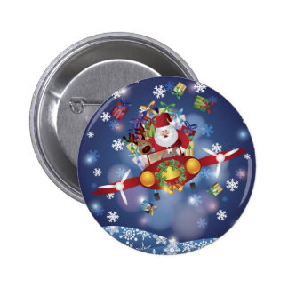 Santa Flying Vintage Plane Button