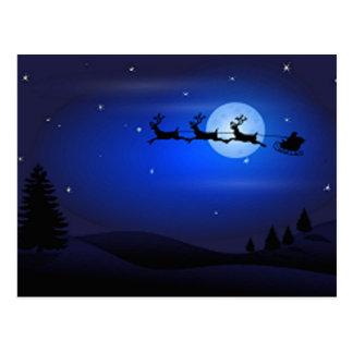 Santa Flys At Night Postcard